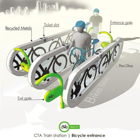 Fahrradfreundliche U-Bahn Station Design Chicago