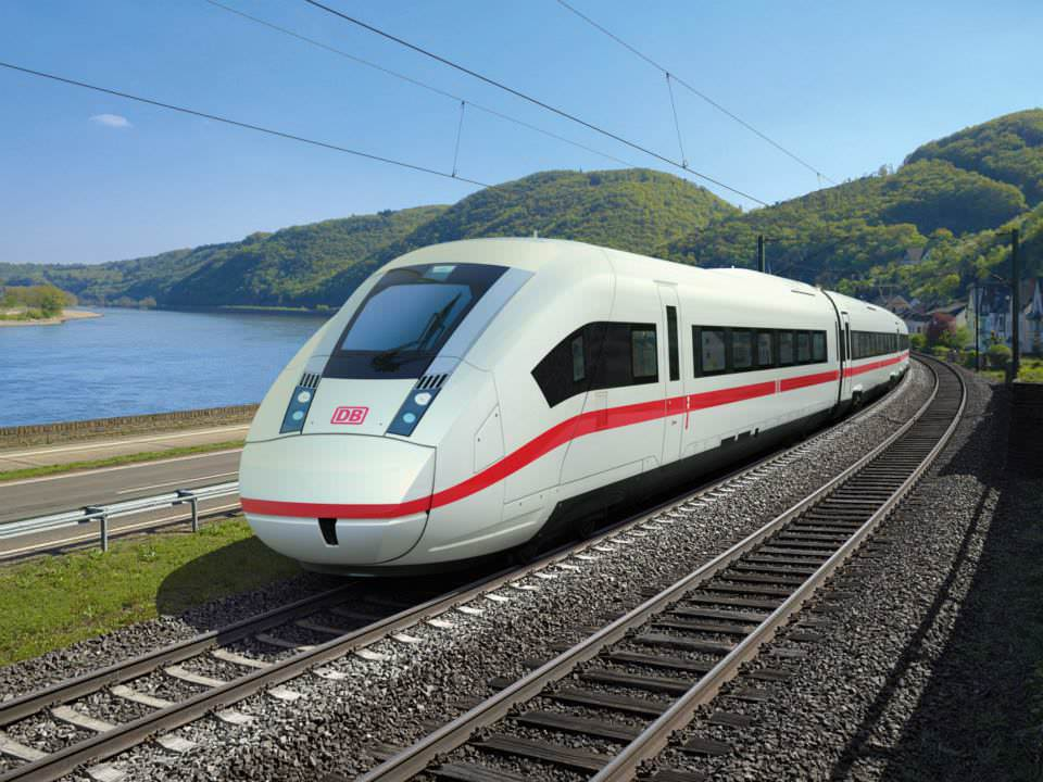 3D-Modell des ICx, Frontansicht, Neuer ICE, Neuer IC, Neuer EC, Deutsche Bahn, Siemens, Fernverkehr, Fernverkehrszug Visualisierung Rheintal