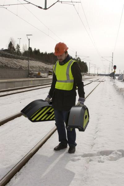 Regimantas Vegele Roboter zur Überprüfung der Schienenwege auf Schäden Verkehrssischerheit Sicherheit Eisenbahnverkehr