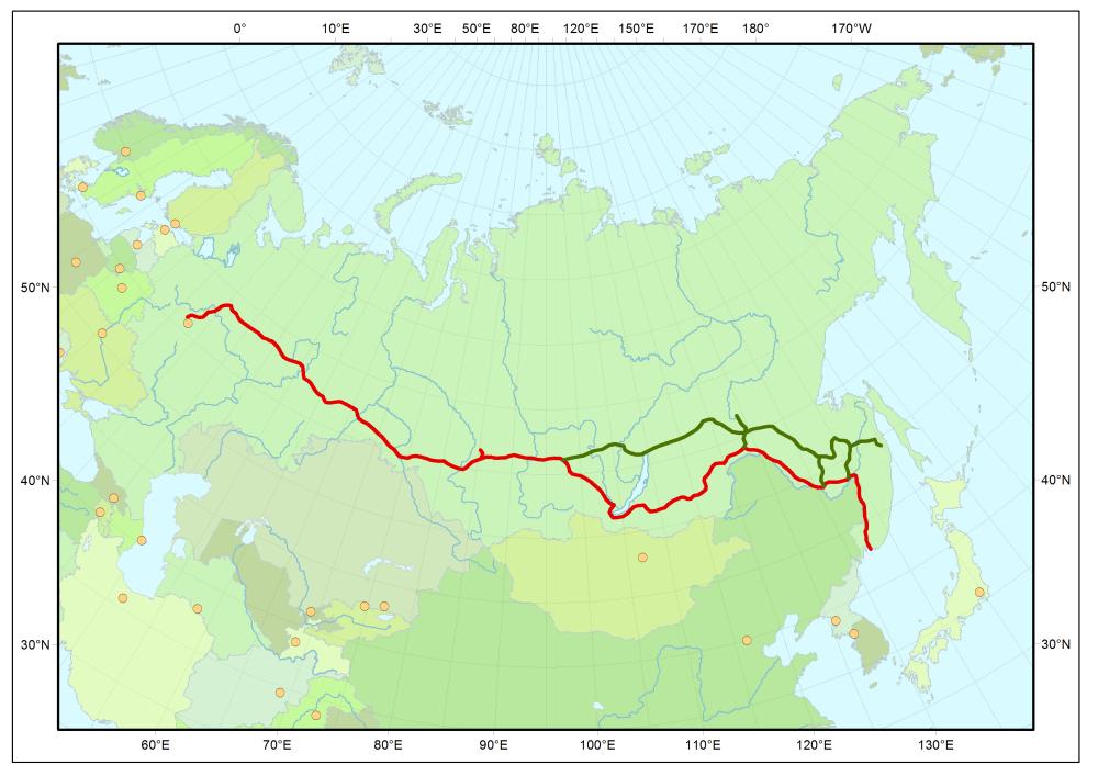 Streckenverlauf Transsibirische Eisenbahn durch Russland