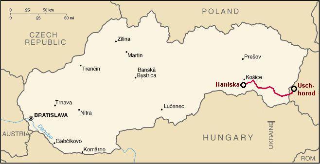 Bahnstrecke Uschhorod-Haniska Kosice Breitspur Slowakei Russland Österreich bis nach Wien