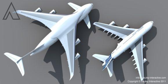 Größtes Flugzeug der Welt Totalansicht neben A380 Designstudie von Phil Pauley