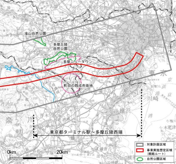 Chuo-Shinkansen Streckenführung Japan Maglev zwischen Tokio und Tama