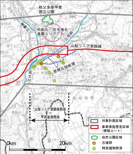 Chuo-Shinkansen Streckenführung Japan Maglev zwischen Yamanashi und Kofu Basin