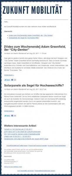Screenshots des neuen Zukunft-Mobilität Newsletters