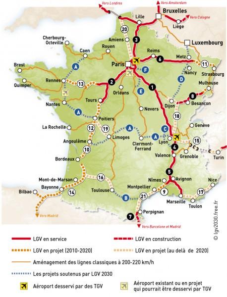 Übersichtskarte LGV in fFrankreich, französische Schnellfahrstrecken, Trassen des TGV, Stand 2007