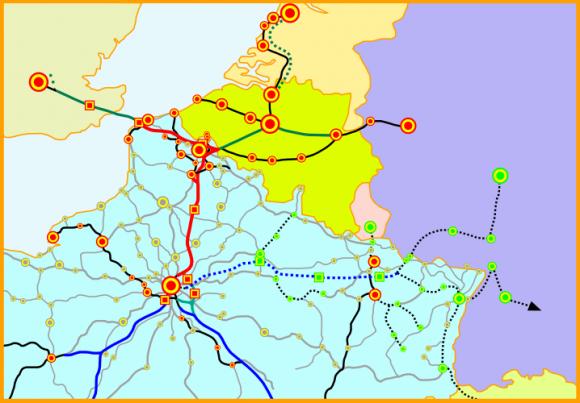 Karte LGV Nord von Paris über Lille bis Belgien und zum Eurotunnel, Frankreich TGV-Netz