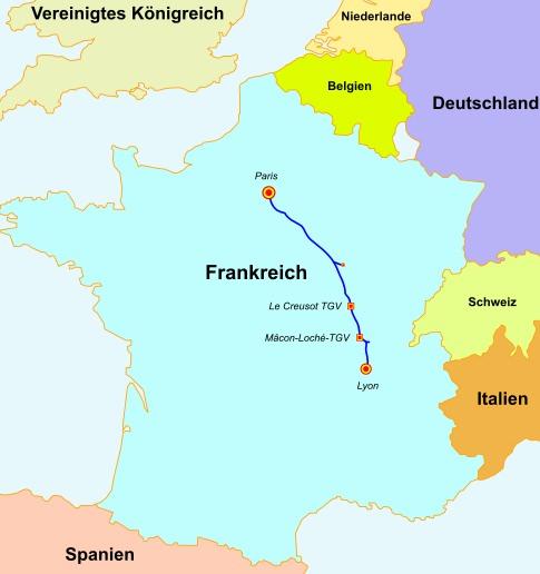 Ligne à grande vitesse LGV Schnellfahrstrecke Sud-Est erste Hochgeschwindigkeitsstrecke Frankreichs auf der der TGV fuhr Eröffnung 1981