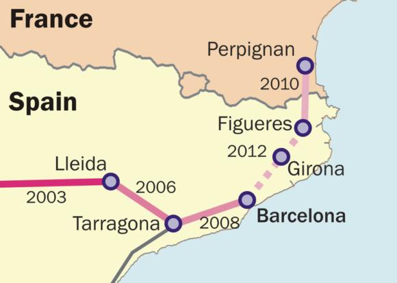 Spanisches Hochgeschwindigkeitsnetz um Barcelona, Abschnitt bis Perpignan