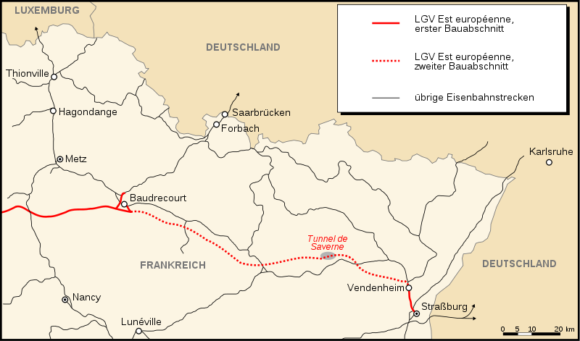 Zweiter Bauabschnitt der LGV Est européenne von Baudrecourt bis Vendenheim bei Straßburg TGV ICE Wendlingen - Ulm Stuttgart 21