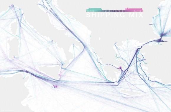 Schifffahrtsrouten Östliches Mittelmeer Suez-Kanal Griechenland Visualisierung