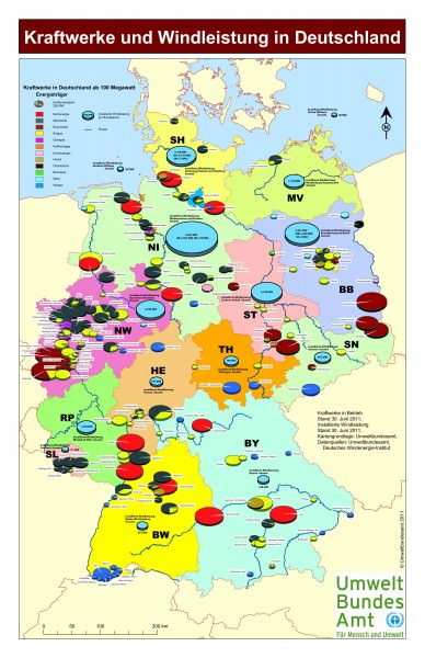 Karte der Kraftwerke in Deutschland Gaskraftwerke Kohlekraftwerke Wasserkraftwerke Solarkraftwerke Atomkraftwerke im Jahr 2011 Umweltbundesamt JPEG