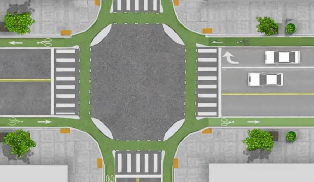 Niederlande Kreuzungsbereich mit einer radfahrerfreundlichen Abbiegerbeziehung und einer hohen Verkehrssicherheit