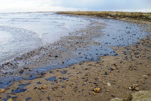 Oelleck in der Straße von Kertsch Verschmutzter Strand