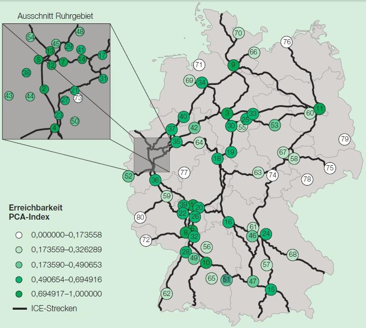 Erreichbarkeit deuter Großstädte mit der Bahn DB
