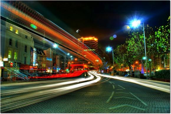Stadt der Zukunft Tolles ild von Bristol bei Nacht