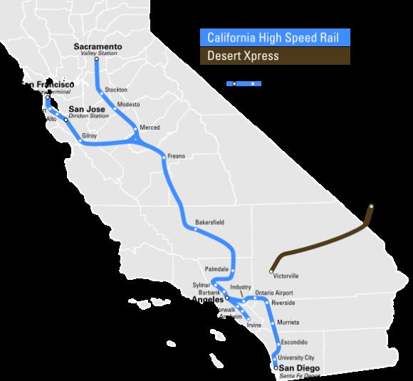 Karte der geplanten Hochgeschwindigkeitsstrecke in Kalifornien