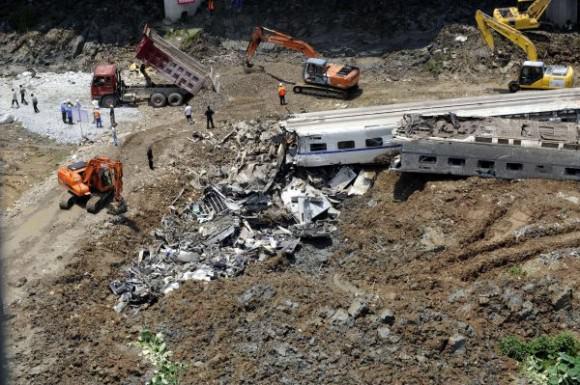 Eisenbahnunglück China Wengzhou Hochgeschwindigkeitszug 2011 Luftbild