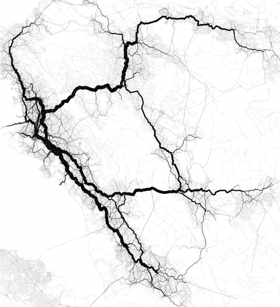 Verkehr in East Coast Verkehrsströme Netzbelastung Verkehrsnetz Stau