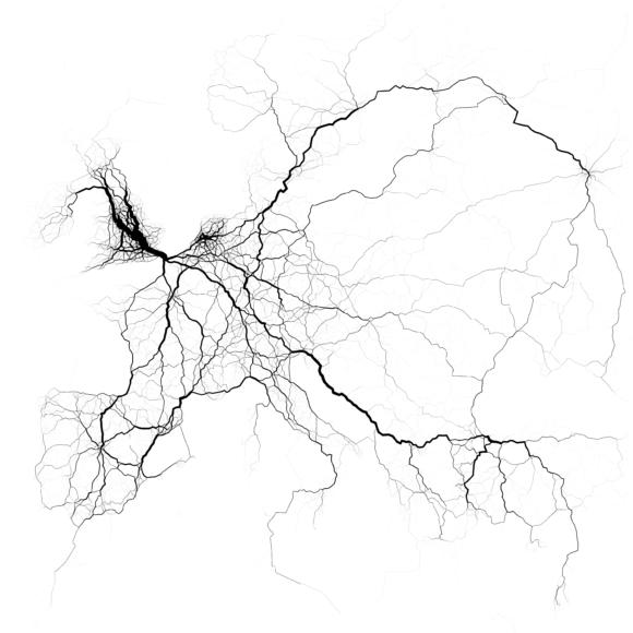 Verkehrsströme in Europa Visualisierung Eric Fischer