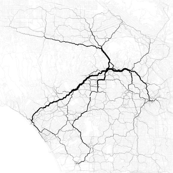 Verkehr in Los Angeles Verkehrsströme Netzbelastung Verkehrsnetz Stau