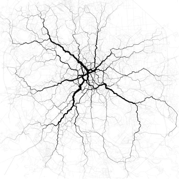 Verkehr in Moskau Verkehrsströme Netzbelastung Verkehrsnetz Stau