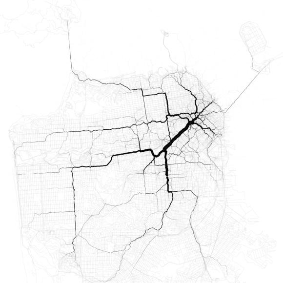 Verkehr in San Francisco Verkehrsströme Netzbelastung Verkehrsnetz Stau