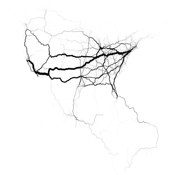 Verkehrsströme in den USA Visualisierung Eric Fischer