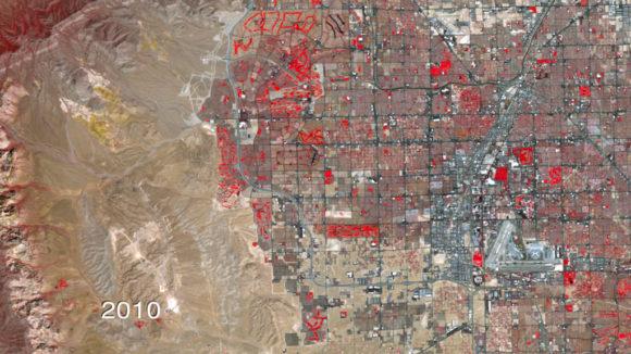 NASA Ausbreitung Las Vegas Satellietenbilder 1972 - 2010