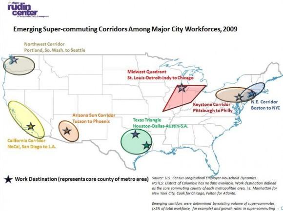 Pendlerströme in den USA zwischen den Metropolregionen