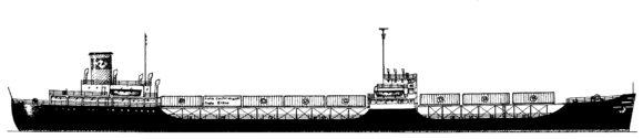 Containerschiff Ideal X von Malcom Mc Lean Querschnitt