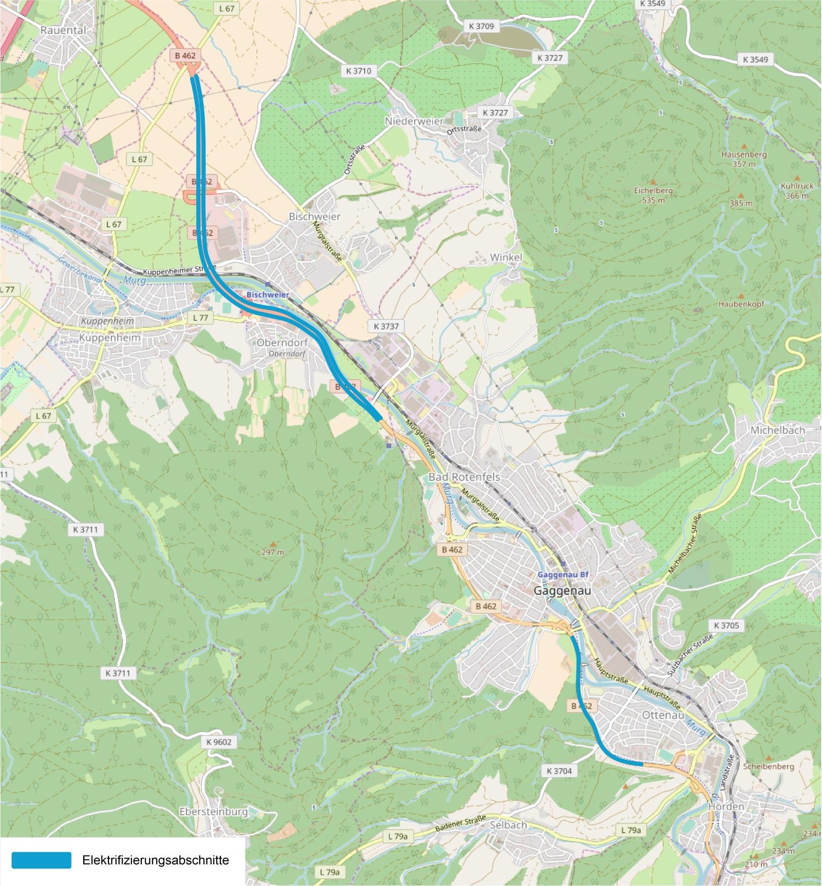 eWayBW Siemens eHighway Pilotstrecke Baden-Württemberg Streckenabschnitte Karte B 462 Obertsrot Kuppenheim