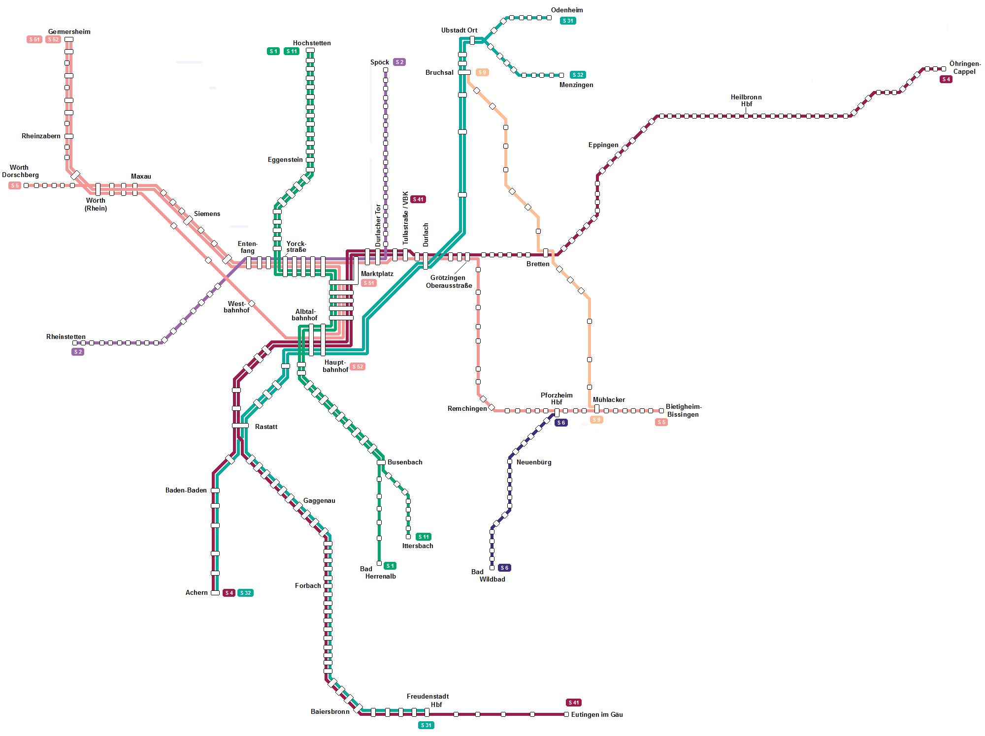 Liniennetz Karlsruhe