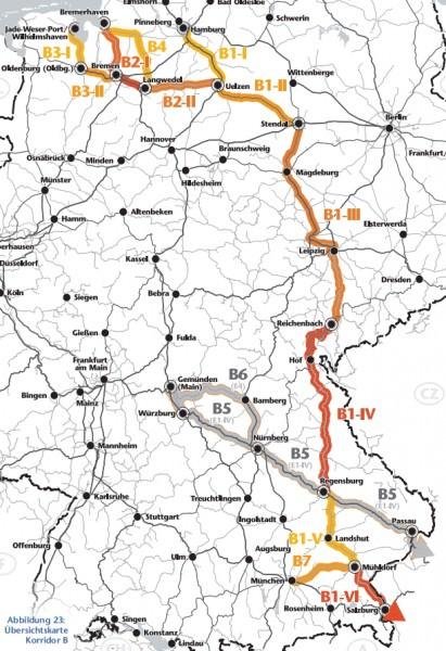 Ausbau des deutschen Schienennetzes Güterverkehr Korridor B