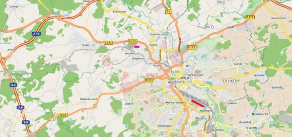 Güterverkehrszentrum Hof Lage Autobahnen