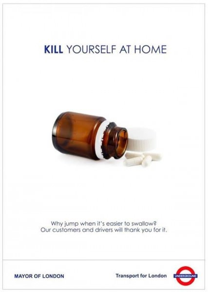 Plakat Transport for London Tabletten Selbstmord