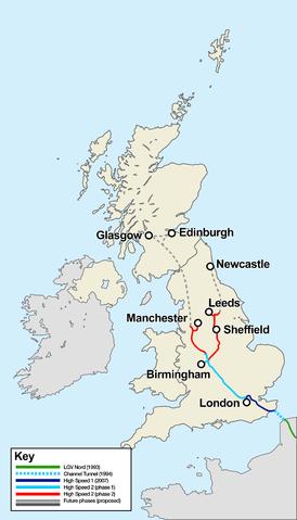 HS2 Karte HS1 UK Großbritannien Hochgeschwindigkeitsverkehr