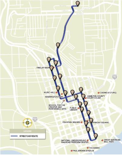 Cincinnati Straßenbahn LiniePlanung