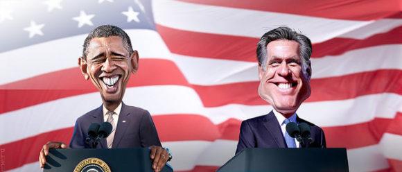 Obama versus Romney Karikatur US-Wahl 2012
