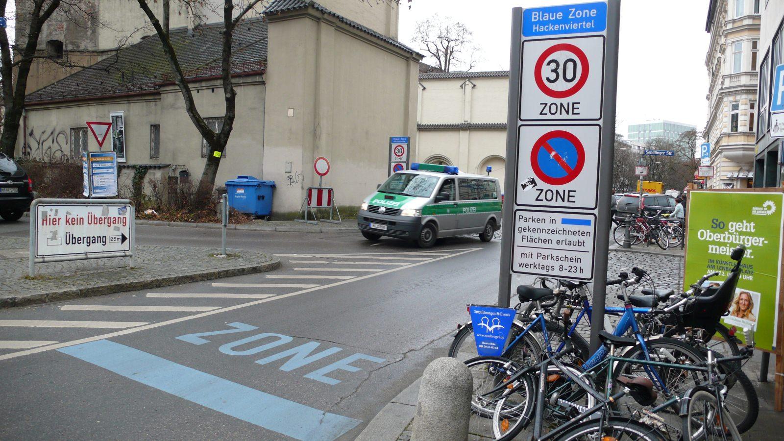 München Parkzone Blaue Zone Innenstadt Parkraumbewirtschaftung