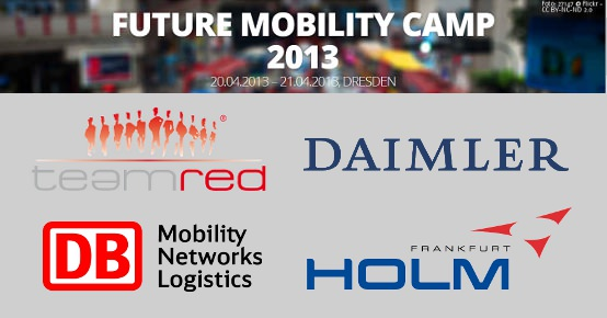 Sponsoren des Future Mobility Camps: team red, Daimler, DB, HOLM Frankfurt