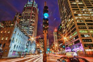 Chicago Straßenzug bei Nacht