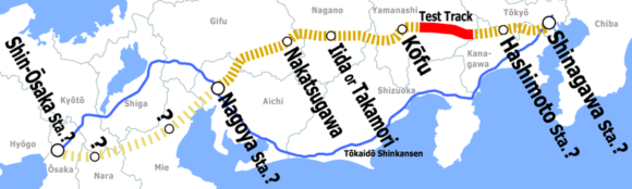 Streckenverlauf des Chuo Shinkansen Magnetschwebebahn Japan JR Central