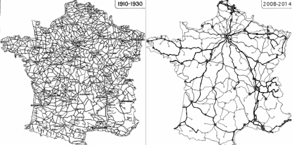 Rückgang Netz Frankreich LGV