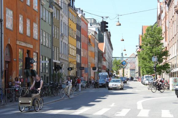 Straßenzug in Kopenhagen als Beispiel