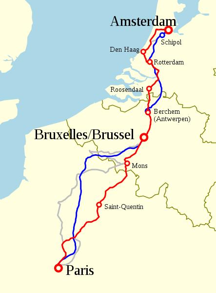 Streckenverlauf Thalys Paris Brüssel früher heute