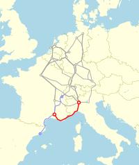 Laufweg TEE Catalan Talgo 1969