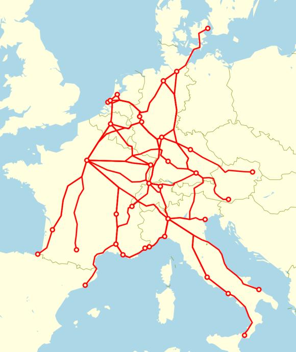 TEE-Netz in Europa 1974