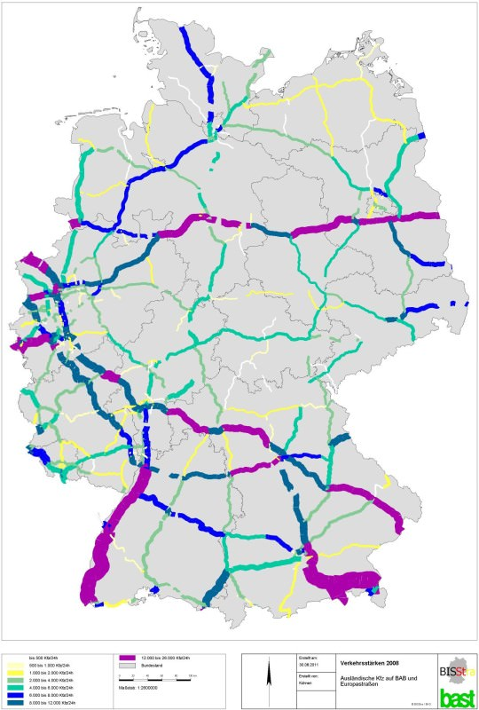 Ausländische Kfz Pkw auf deutschen Autobahnen Verkehrsstärke Aufkommen Verteilung