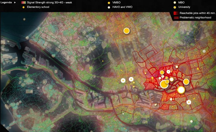 Menschen in Rotterdam Visualisierung des Stroms
